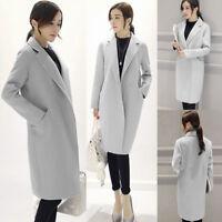 Women Winter Warm Wool Lapel Long Work Trench Parka Coat Jacket Overcoat S-3XL