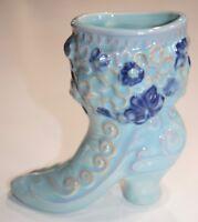 """Vintage Ceramic Boot Blue Floral Shoe Vase Blue 6"""" figurine"""