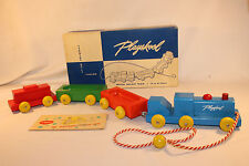 1950's Playskool Wooden Pull Toy Train Set, Nice Boxed With Catalog