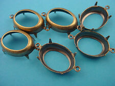 12 Brass Ox Oval Prong Setting with 2 Loops 18x13 open back connectors