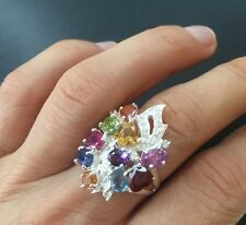 $700! Natural citrine, Topaz, Ruby,ametist, Sapphire...silver ring Size 6.5