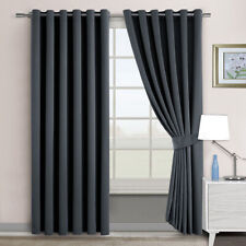 2PCS Blockout Eyelet Curtains Panels Thermal Insulated 3 Layers Pure Fabric Grey