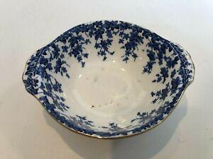 "Antique Crown Ducal England Blue & White Soup Bowl, Ivy Pattern, 6"" x 5 1/4"""