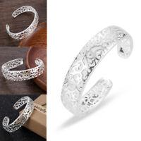 Women's Fashion 925 Sterling Silver Bezel Hollow Cuff Bangle Open Bracelet New