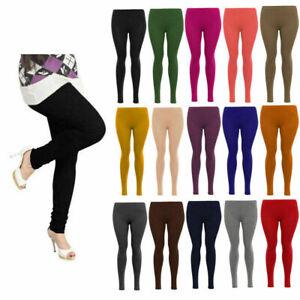 Womens Ladies Leggings Viscose Elastane Plain Full Length Colours UK Size 8-26
