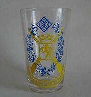 flandre - rare assiette et verre de café de société de carabinier - hazebrouck