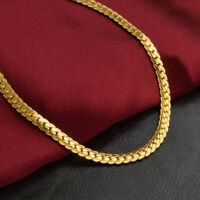 5MM Necklace Jewelry Gold Plated Flat Women Fashion Men Chain