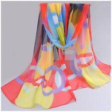 destockage foulard écharpe neuf mousseline de soie motif géométrique rouge noir