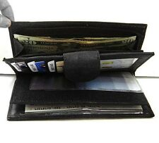 BLACK GENUINE LEATHER WOMLONG CHECKBOOK CLUTCH WALLET
