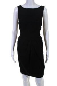 Reiss Womens Sleeveless Cut Out Back Boat Neck Dress Black Cotton Size 8