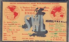 Old QSL from D H Travis Thackery Grove, Crosland Moor Nr Huddersfield 23/11/1946
