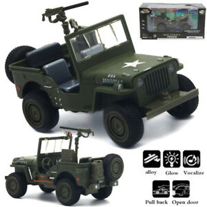 1:32 Willys Off-road Chariot Alloy Car Model Camouflage Military Vehicle Toy