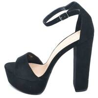 Sandalo donna nero con plateau e tacco largo alto 14 cm in camoscio con cinturin