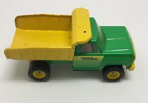 "Vintage Tonka 14"" Dump Truck Pressed Steel Toy #13190 Green & Yellow"