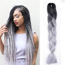 "ombre Black / gray 1pcs 24"" kanekalon jumbo synthetic braiding Hair Extension"