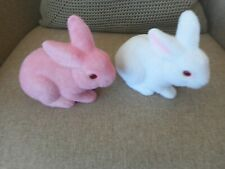 VINTAGE FUZZY BUNNY BANKS PINK AND WHITE