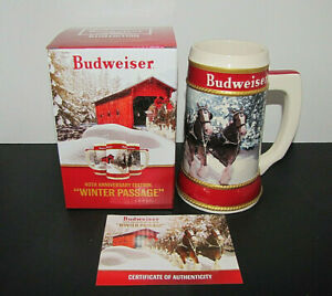 2019 BUDWEISER CHRISTMAS EDITION STEIN NEW BOX CERTIFICATE OF AUTHENTICITY
