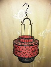 RED JAPANESE HANGING Metal Lantern with votive candle holder