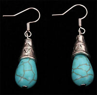 New Jewelry Women's Blue Turquoise Charm Silver Plated Drop Dangle Earrings Gift