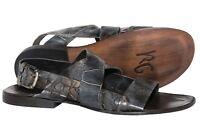 cf46dd3f0ca5 Roberto Guerrini S305 B-82 Italian mens grey leather sandals with buckle