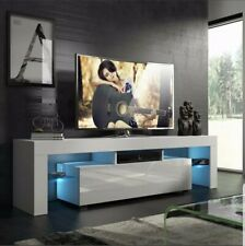 "Modern White 51"" TV Stand Unit Cabinet w/ LED Light Single Door Console Table RC"