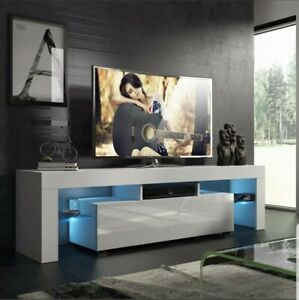 """Modern White 51"""" TV Stand Unit Cabinet w/ LED Light Single Door Console Table RC"""