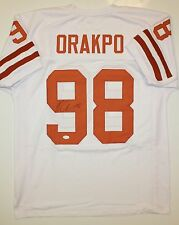 Brian Orakpo Autographed White w/ Orange Jersey- JSA W Authenticated