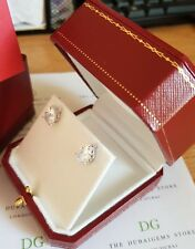 Red vintage earrings box &  teardrop studs 2ct created diamond perfect Cartiere
