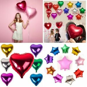 "5 PCS 18"" Heart Star Foil Balloons Festival Wedding Birthday Party DIY Decor Hot"