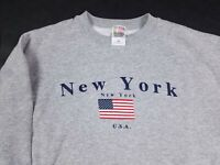 Vtg 90s New York City NYC USA Flag Tourist Destination Sweatshirt Adult XL