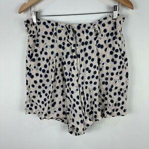 H&M x Anna Glover Womens Shorts Size 14 White Polka Dot Elastic Waist 74.09