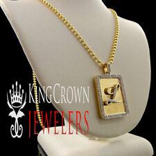 """Real Diamond Alphabet Initial Letter """"L"""" Yellow Gold Finish Mini Dog Tag Pendant"""