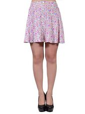 Lush Off White Pink Petite Granny Floral Print A Line Skirt With Buttons M