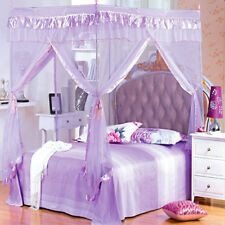 4 Corner Poster Bed Canopy Lace Mosquito Net Double Queen King Size Netting