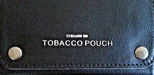 BLACK SOFT LEATHER TOBACCO POUCH LINED PAPER SLOT ROLLING POCKET RIZLA SMOKING
