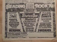 Reading Rock Festival Jam Status Quo Patti Smith 1978 press advert  poster