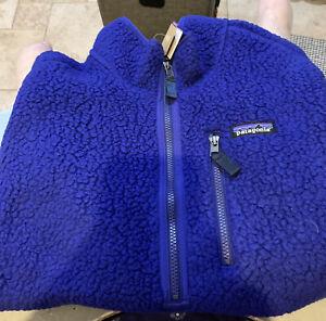Patagonia Men's Retro Pile Pullover Fleece ~ L Cobalt Blue **$129 Retail NWT