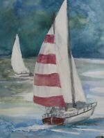 "Original Watercolour of Yachts. 7.2"" x 11.3"". Unframed."