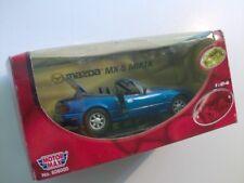 MAZDA MIATA MX5 1/24 SCALE DIECAST MODEL CAR BLUE MOTORMAX ORIG. BOX #608000