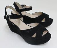NEW SALVATORE FERRAGAMO My Sunset Ladies Black Suede Wedge Shoes EU36 UK3.5