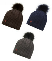 LeMieux Lena Pom Pom Warm Winter Woolen Micro Fleece Beanie Hat Navy/Mocha/Grey