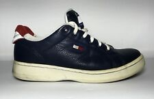 Vtg Tommy Hilfiger Leather Womens Sneakers Blue Shoes 8 Spell Out Flag Lace Up M
