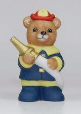 Vintage Homco Bear Porcelain Figurine - Series# 8805 - Firefighter with Hose