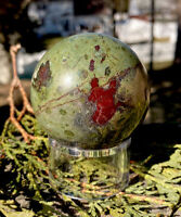 293.3g NATURAL AUSTRALIAN DRAGON BLOOD STONE CRYSTAL HEALING SPHERE Reiki