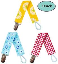 EliteBaby Unisex Pacifier Clip Holder, 3 Pack | Teething Toys, Soothie Pacifiers