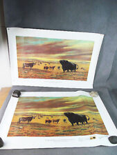 Two 1973 Centennial Art Print ANGUS CATTLE in USA~1 Signed w/First Day Stamp