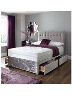 SALE!! LUXURY DOUBLE 5FT CRUSHED VELVET DIVAN BED
