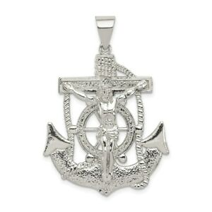 Sterling Silver 925 Polished Mariners Crucifix Cross Charm Pendant 1.79 Inch