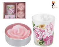 3Pc Votive Tealight Set Mothers Day Holder Gift Rose Shaped Candle floral holder