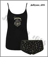 Ladies Harry Potter Cami & Knickers Set Womens Hogwarts Black Glitter Pyjama Set